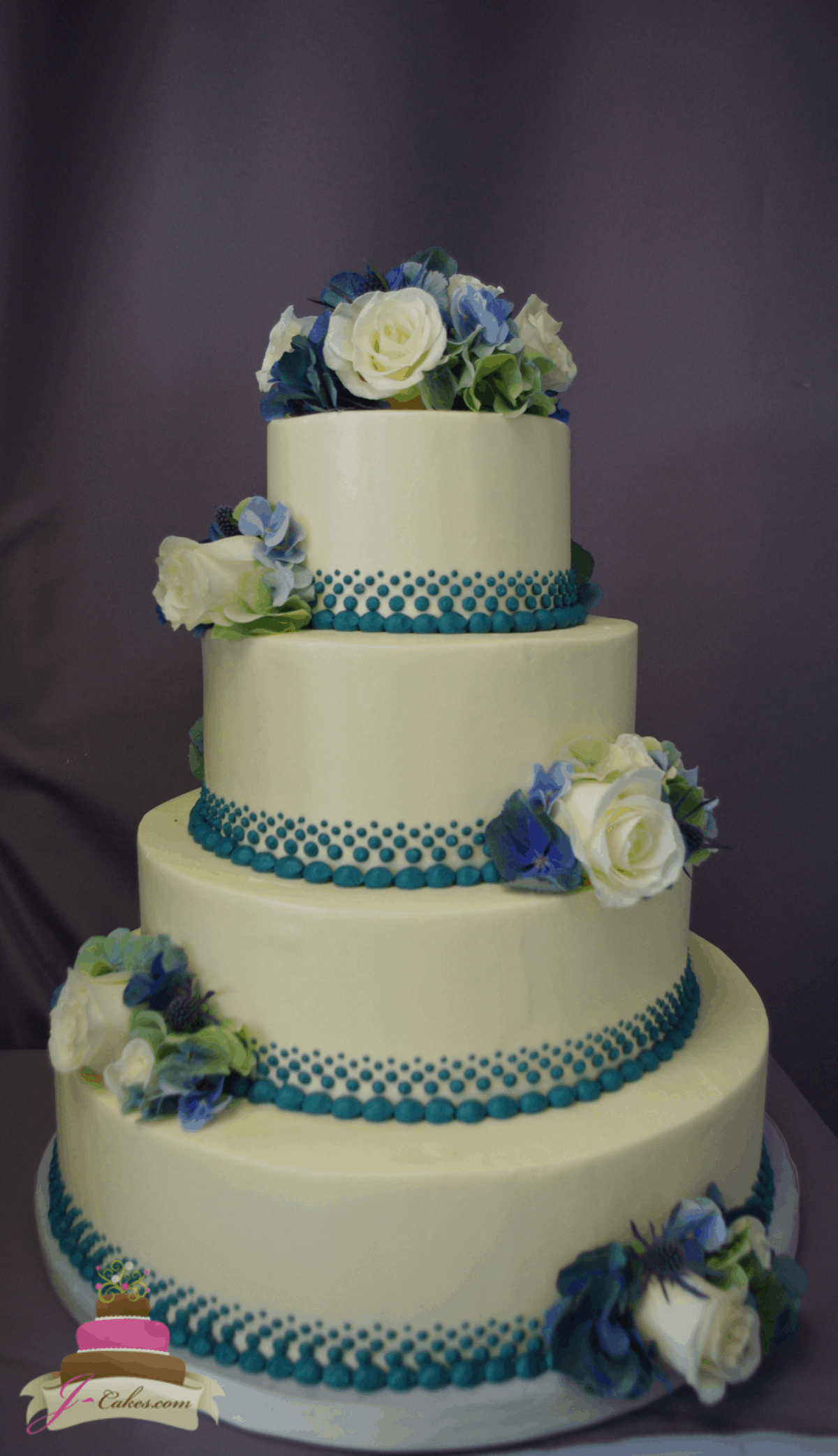 (1172) Teal Graduate Dot Wedding Cake