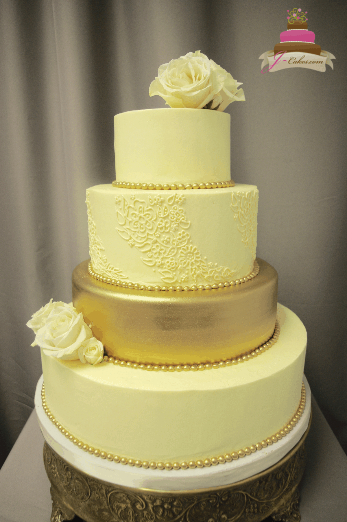 (1173) Gold Tier Wedding Cake