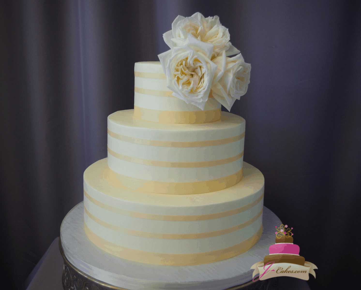 (1174) Ribbon Stripe Wedding Cake