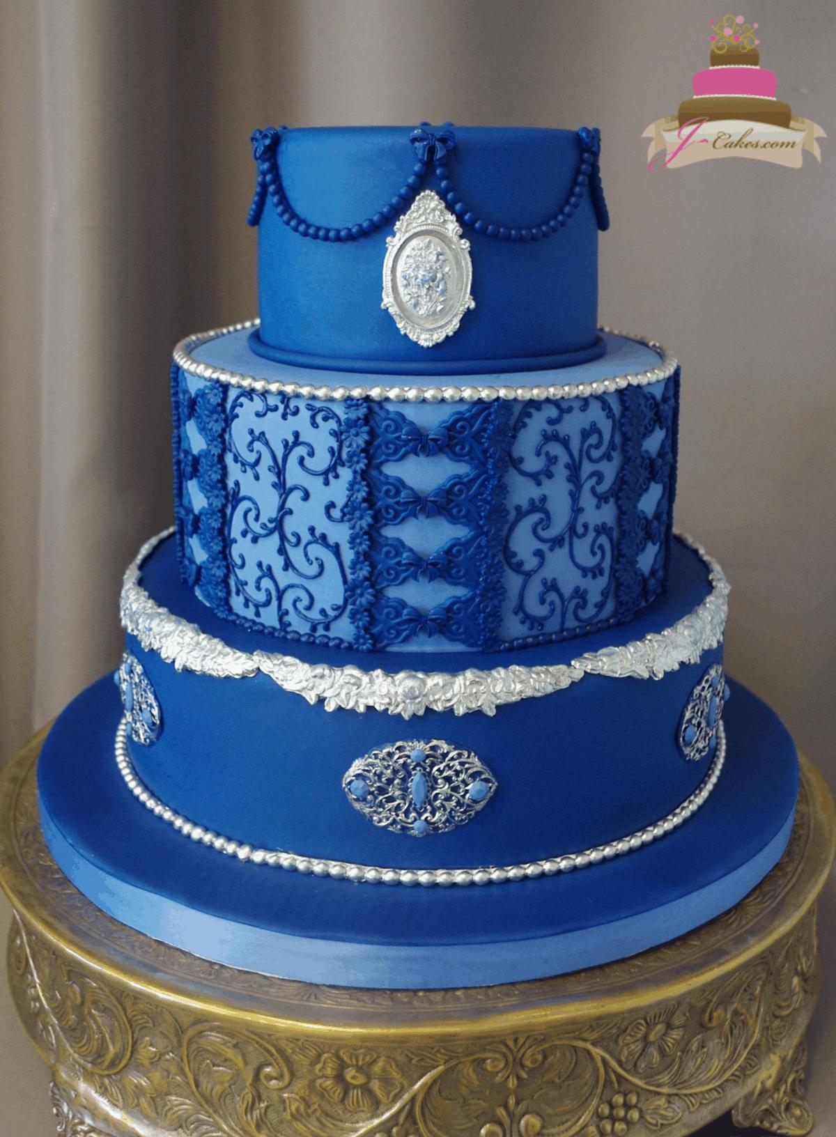 (1175) Blue Baroque Wedding Cake