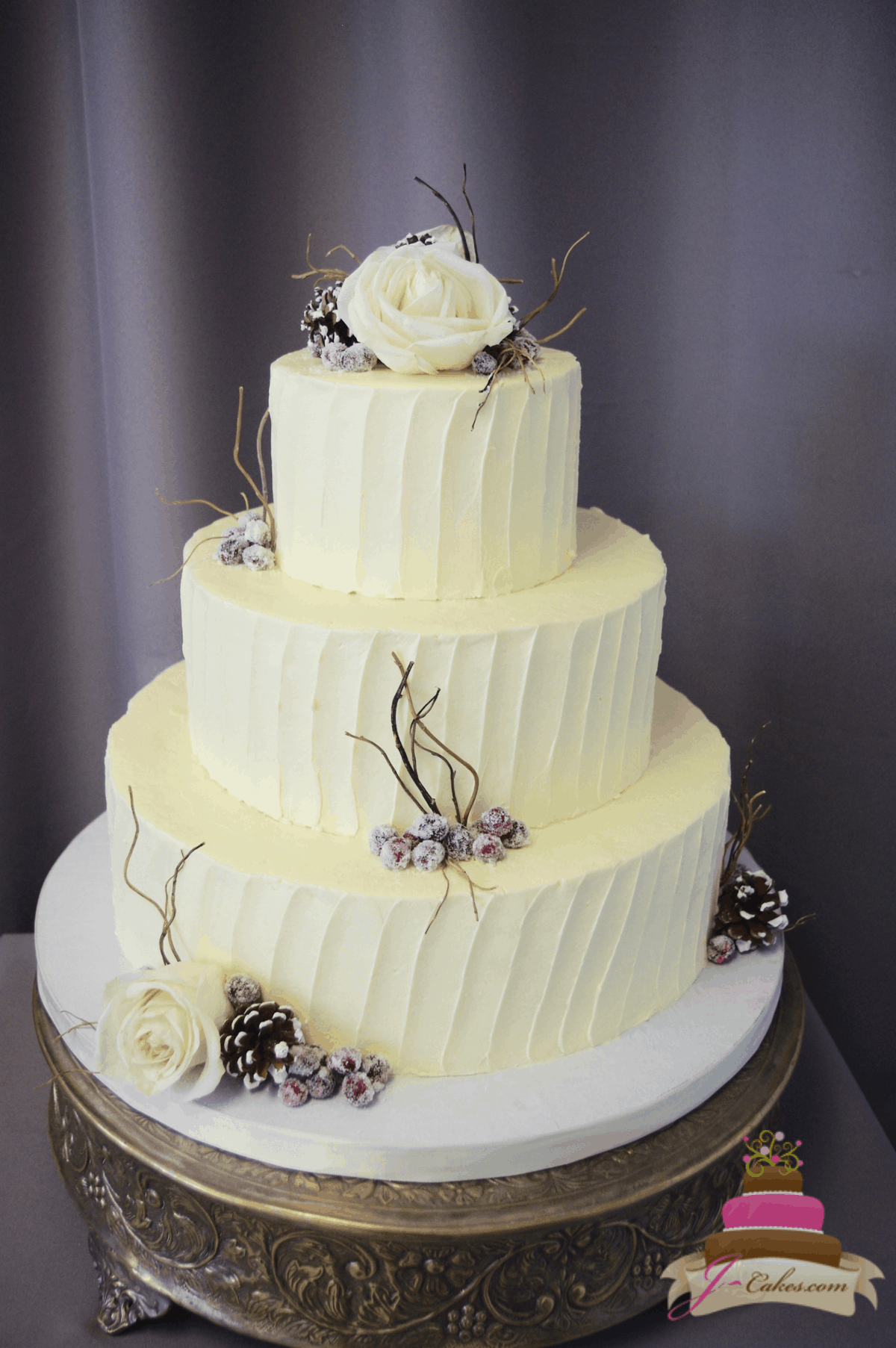 (1176) Winter Vertical Texture Wedding Cake