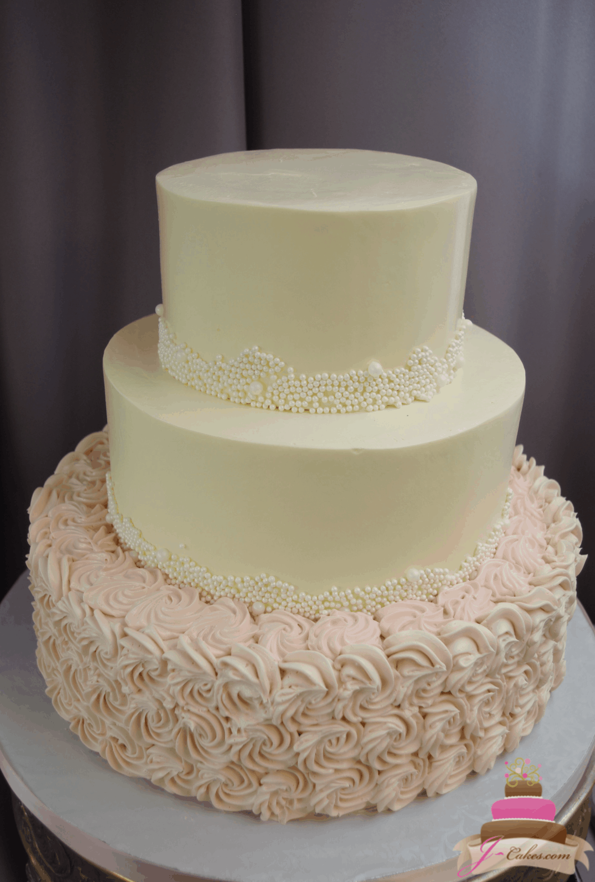 (1183) Rosette and Sugar Pearl Wedding Cake