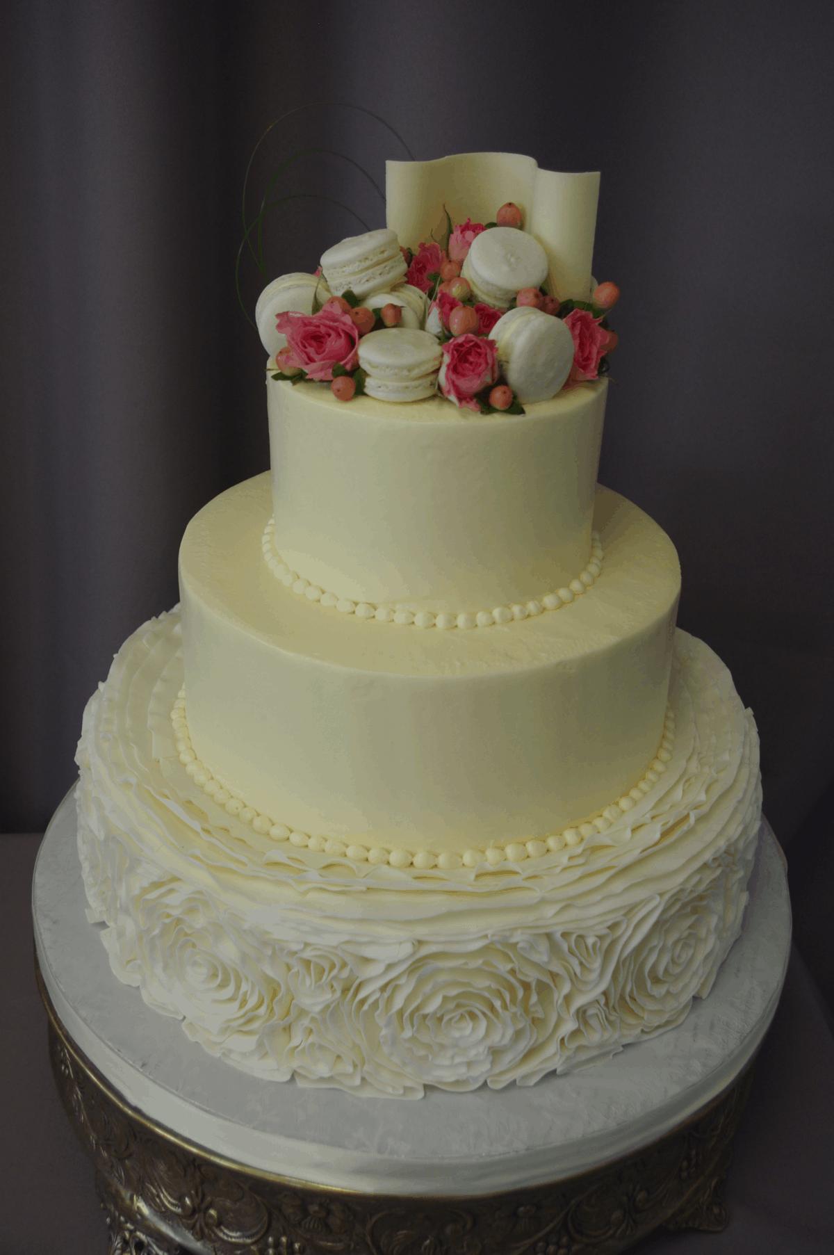 (1186) Fondant Ruffle and Macaron Wedding Cake