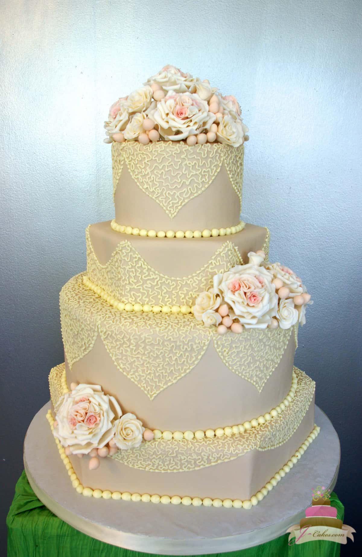 (1150) Taupe Fondant and Lace Wedding Cake