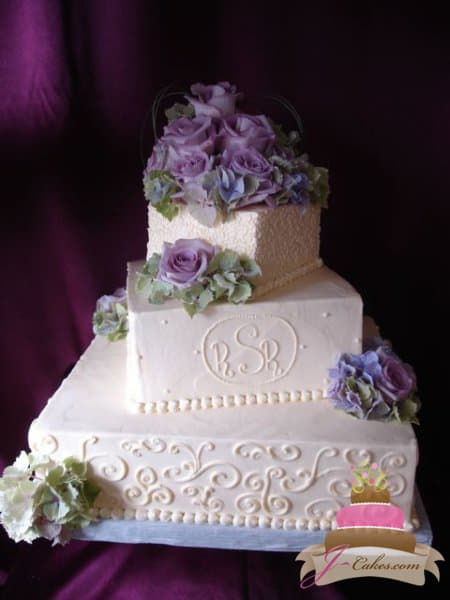 (1133) Variety of Scrolls, Cornelli Lace, and Dot Wedding Cake
