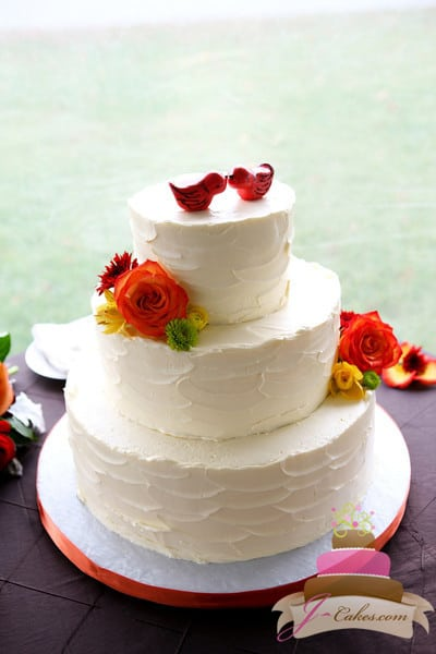 (1013) Textured Buttercream Wedding Cake