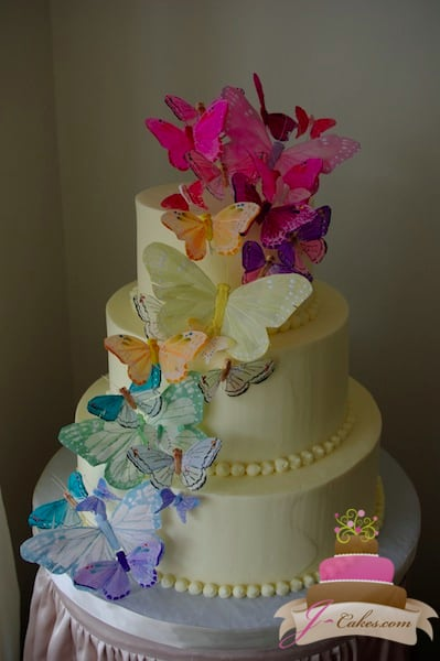 (1095) Butterfly Wedding Cake