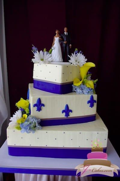 (1104) Blue Fleur De Lis Wedding Cake