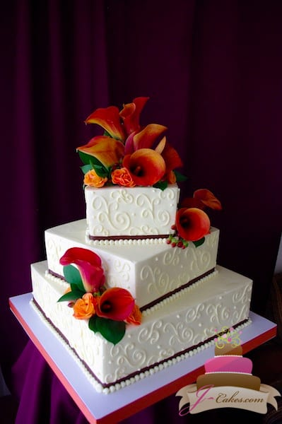 (1113) Square Variety of Scrolls Wedding Cake