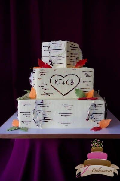 (1117) Square Birch Bark Wedding Cake