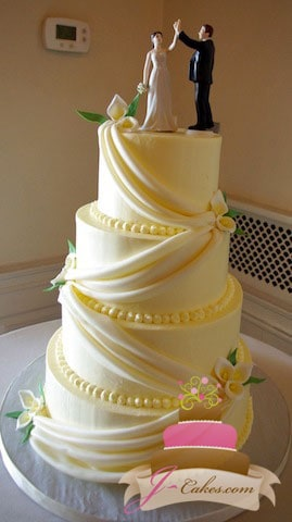 (1029) Fondant Swag Wedding Cake