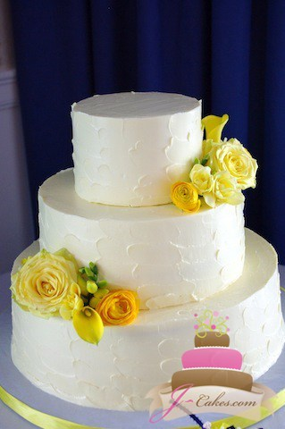 (1031) Textured Buttercream Wedding Cake with Yellow Flowers