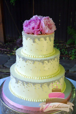 (1036) Silver Dragee Drip Wedding Cake