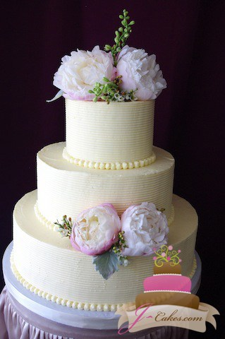 (1042) Combed Buttercream Wedding Cake with Peonies