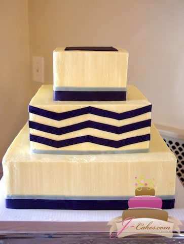 (1044) Purple Chevron Wedding Cake