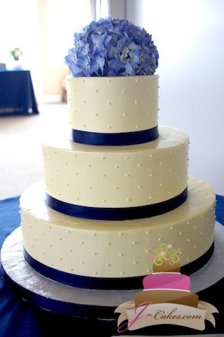 (1056) Swiss Dot Wedding Cake