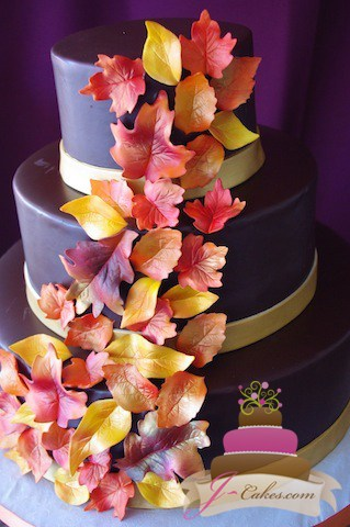 (1075) Ganache Wedding Cake with Autumn Leaves