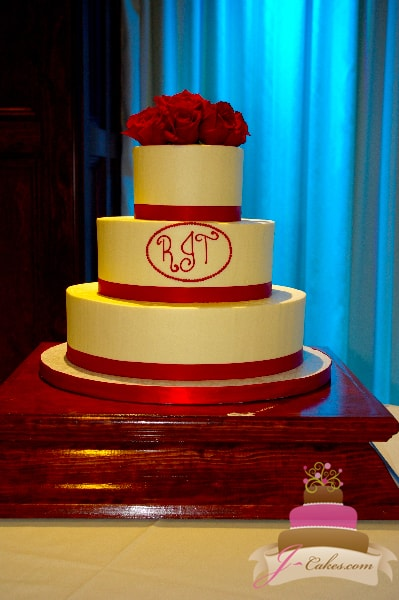 (1082) Red Monogram Wedding Cake