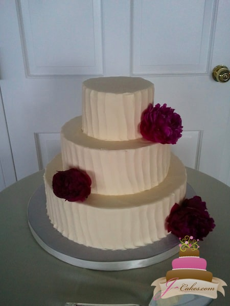 (1120) Vertical Textured Buttercream Wedding Cake