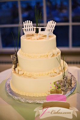 (1144) Beach Theme Wedding Cake