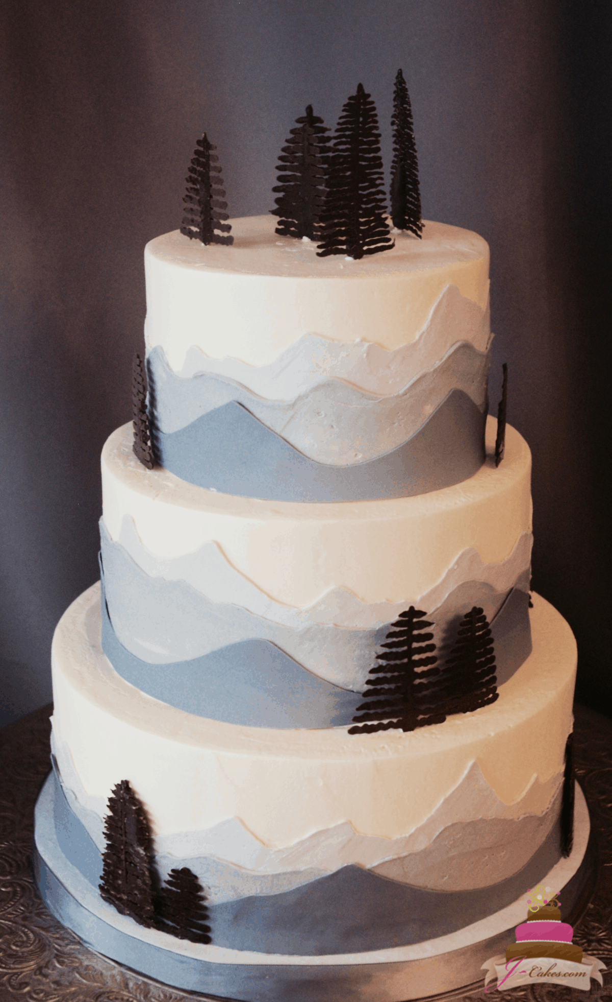 (1161) Mountain Range Wedding Cake