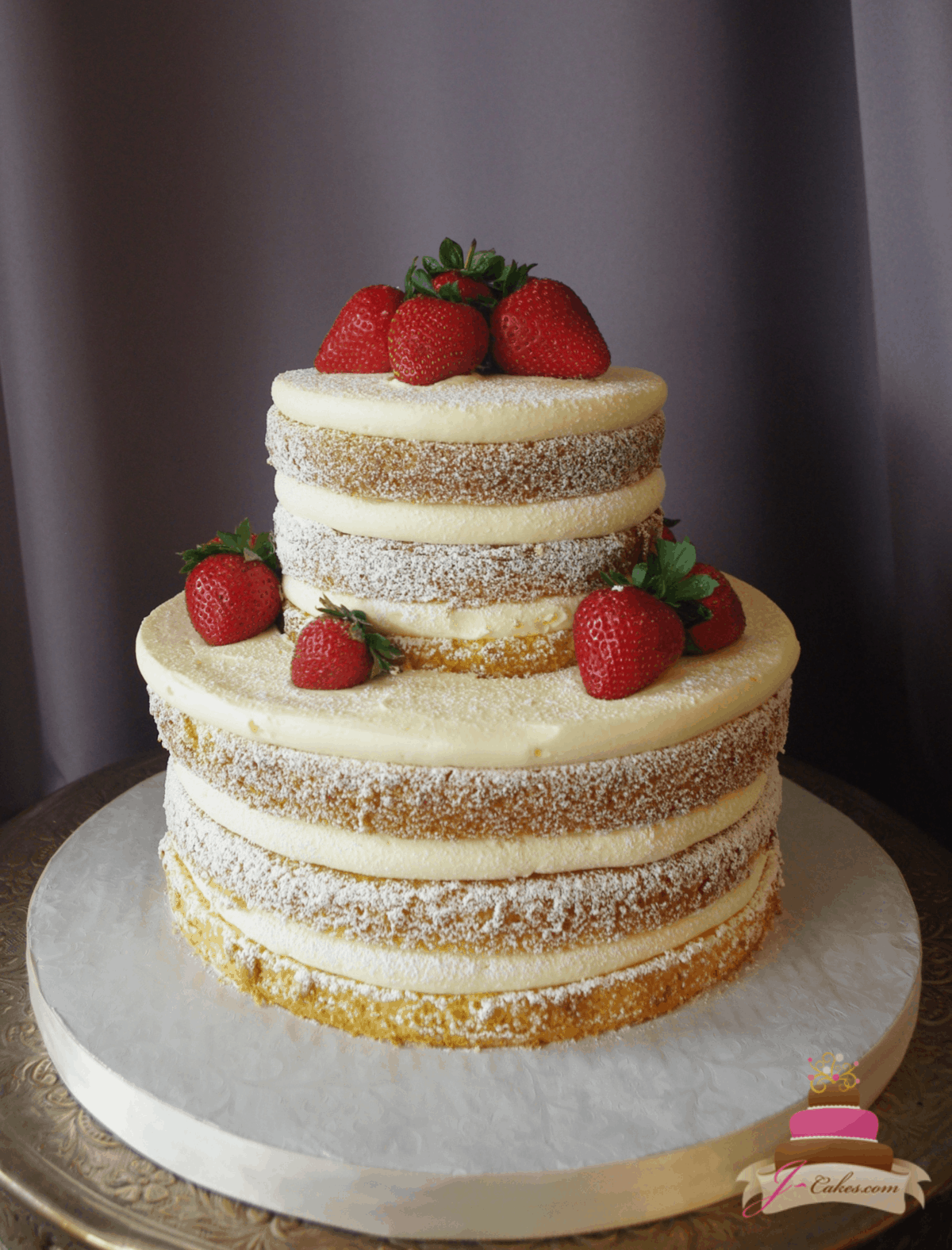 (1163) Naked Wedding Cake with Powdered Sugar