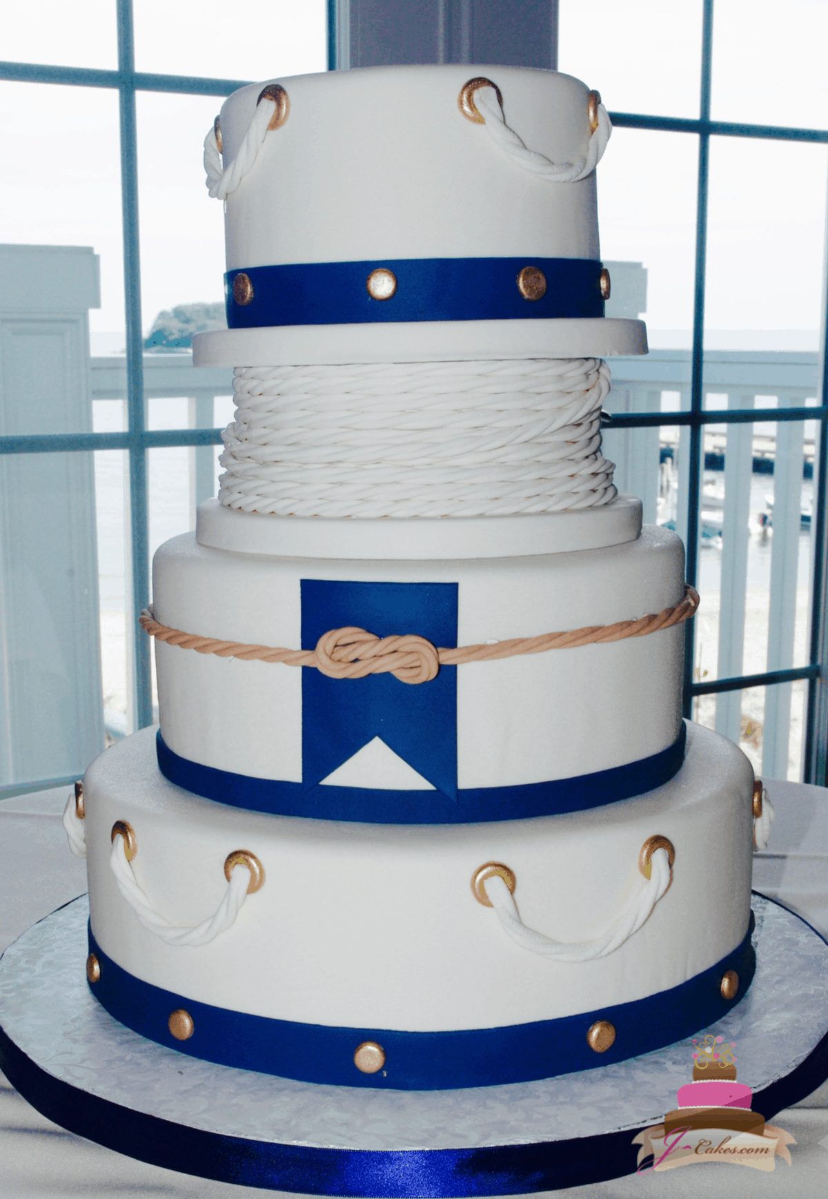 (1164) Nautical Rope Wedding Cake