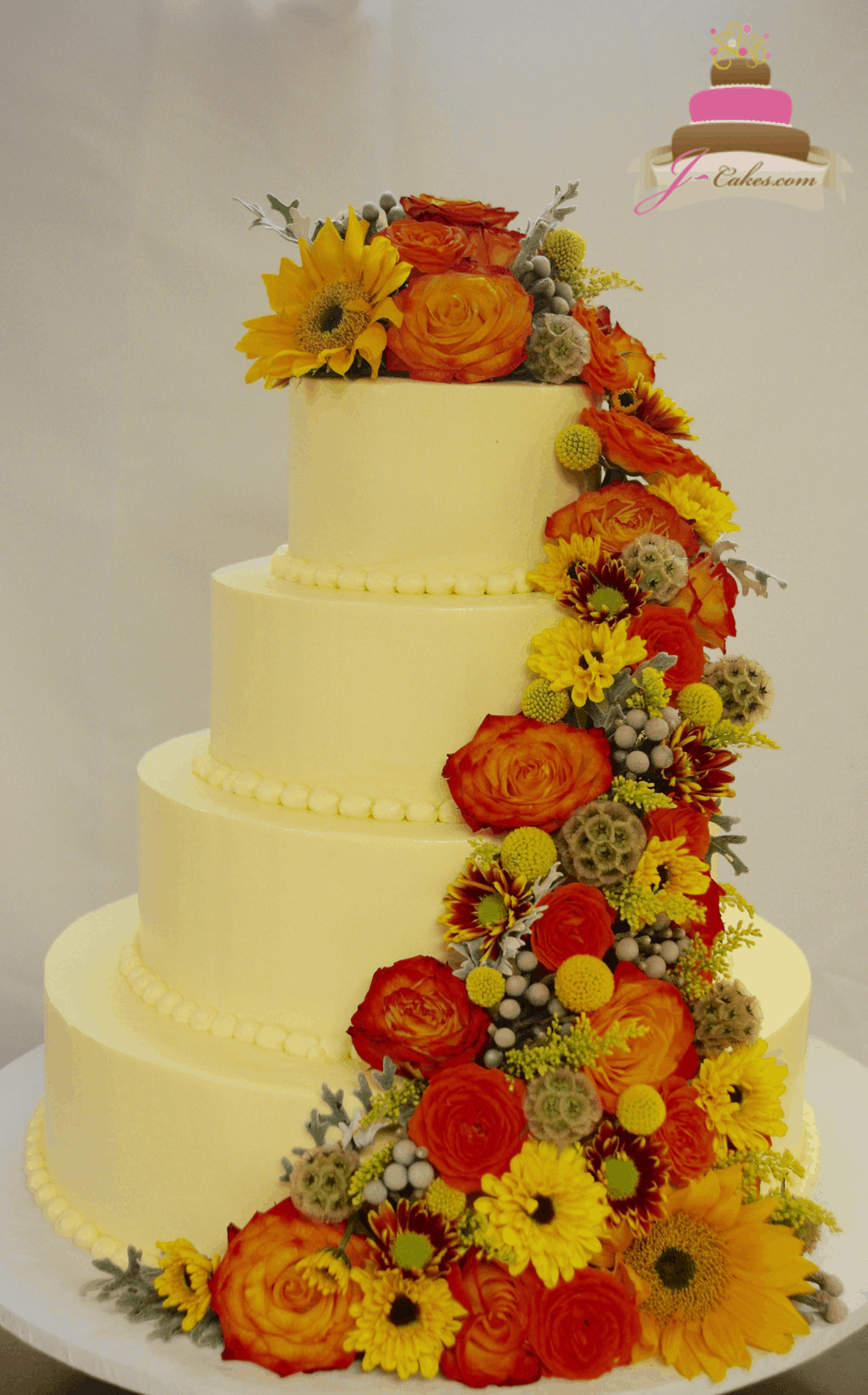 (1165) Elaborate Autumn Floral Wedding Cake