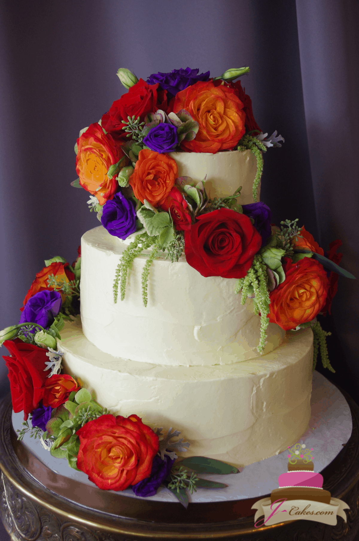 (1166) Whimsical Floral Wedding Cake