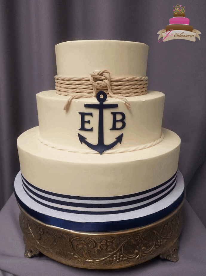 (1170) Nautical Wedding Cake with Anchor Monogram