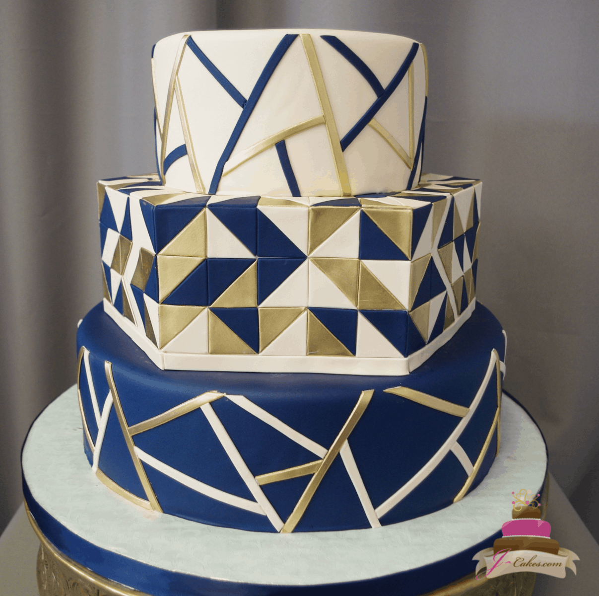 (1171) Geometric Fondant Wedding Cake