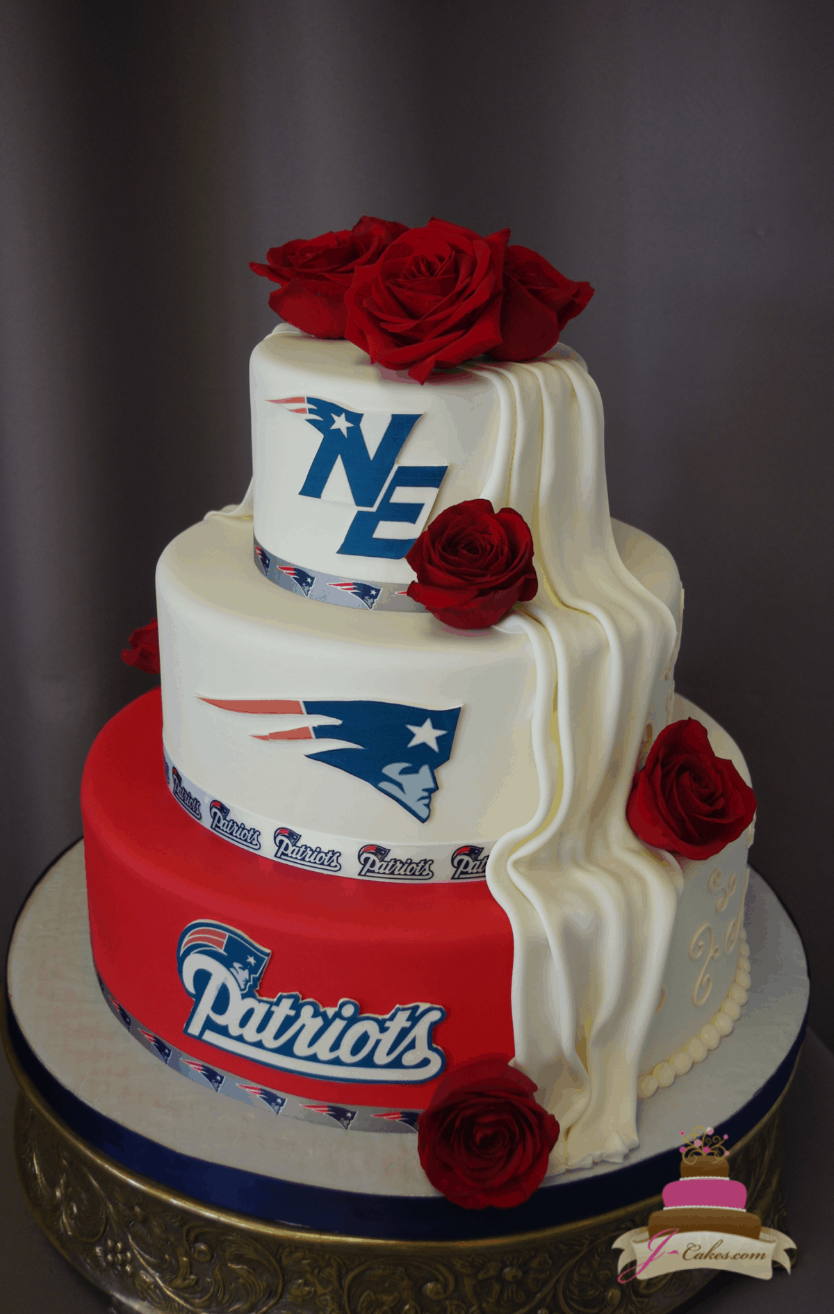 (1177) Patriots Theme Half and Half Wedding Cake