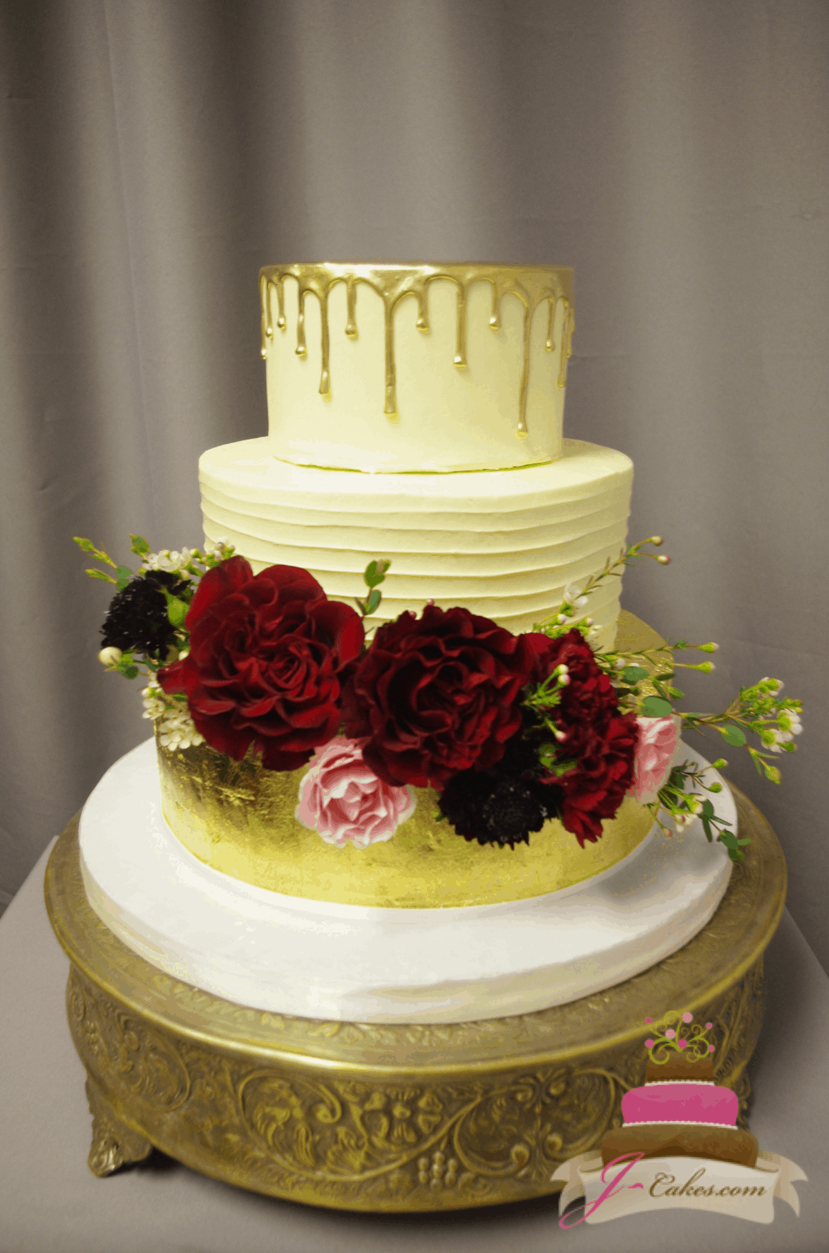 (1178) Gold Leaf and Drip Wedding Cake