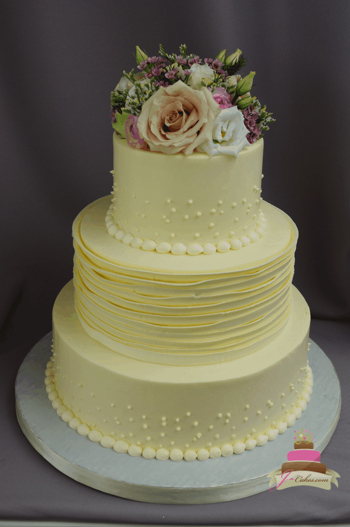 (1182) Buttercream Ruffle Wedding Cake