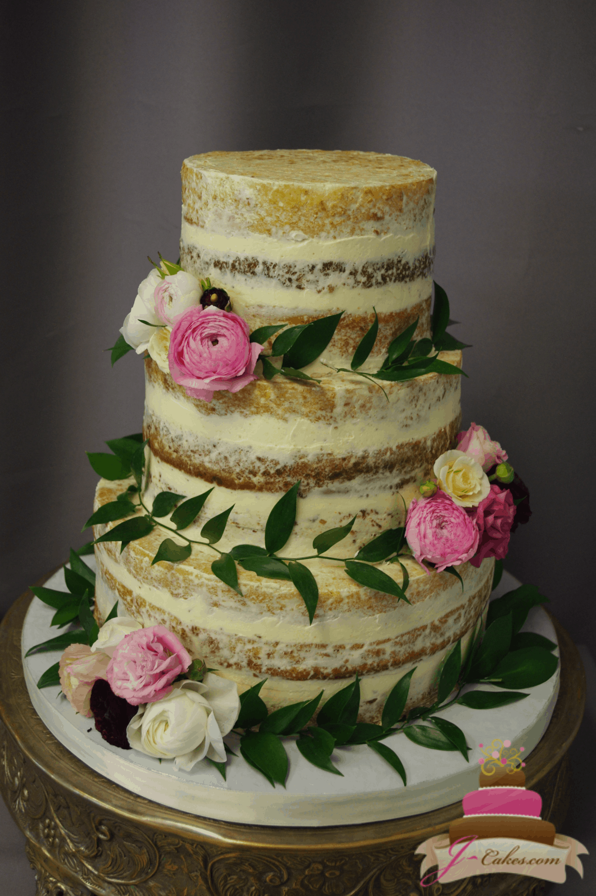 (1184) Semi-Naked Wedding Cake with Greenery