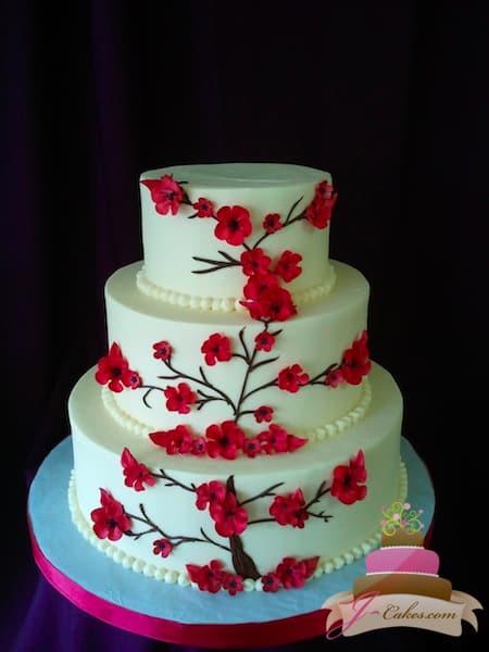 (1088) Red Cherry Blossom Wedding Cake