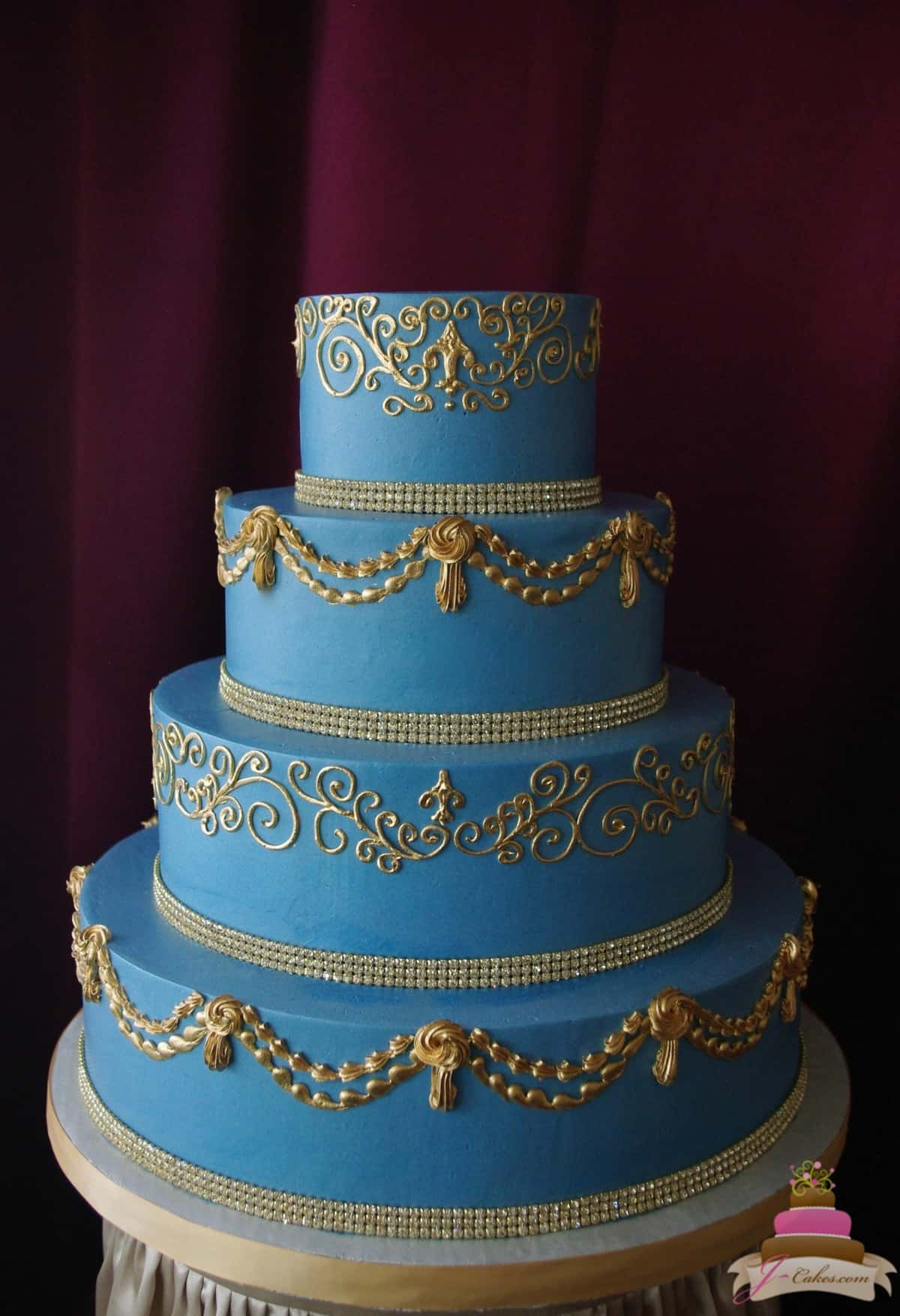 (1145) French Blue and Gold Wedding Cake
