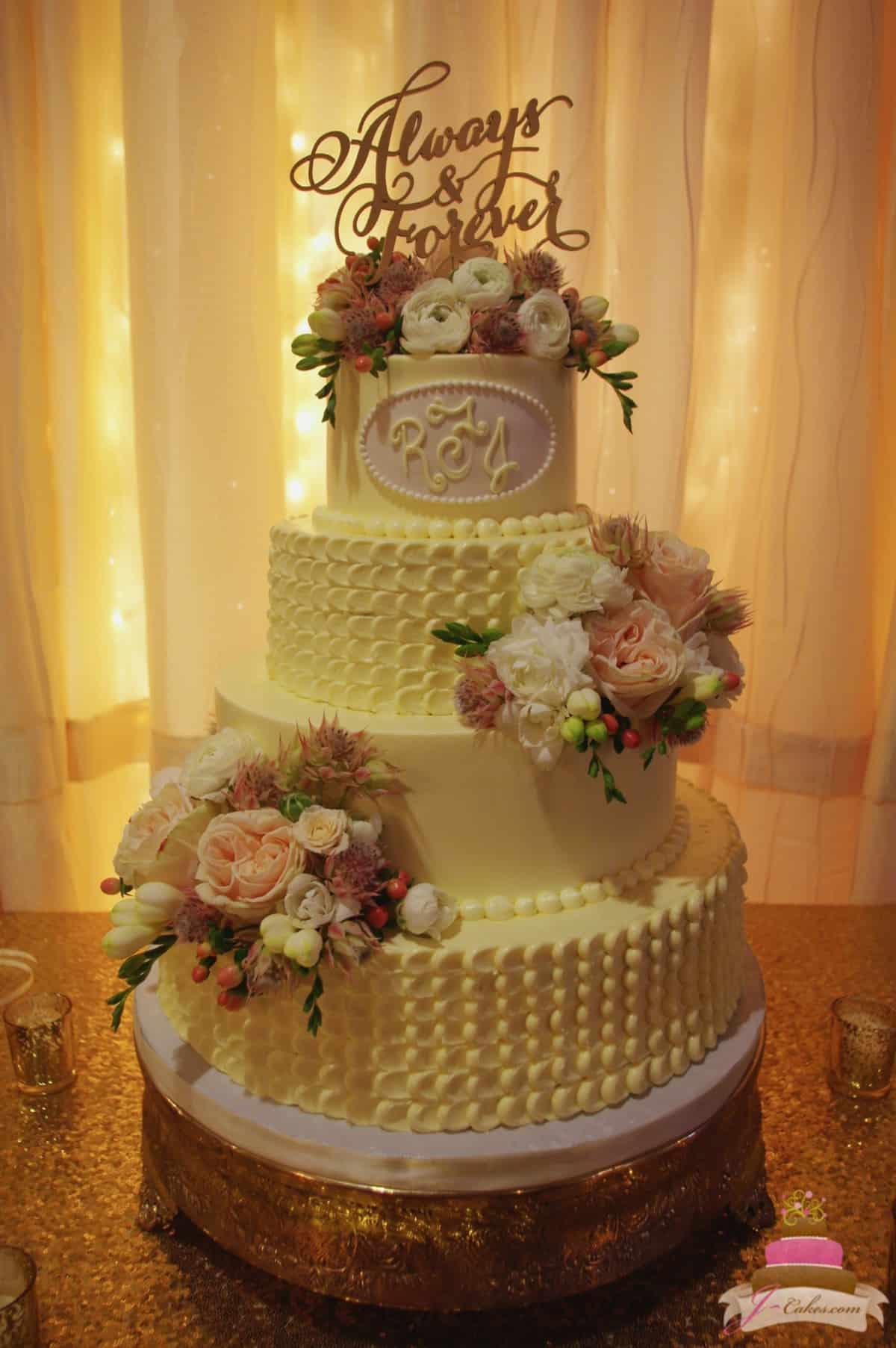 (1146) Dragged Dot Wedding Cake