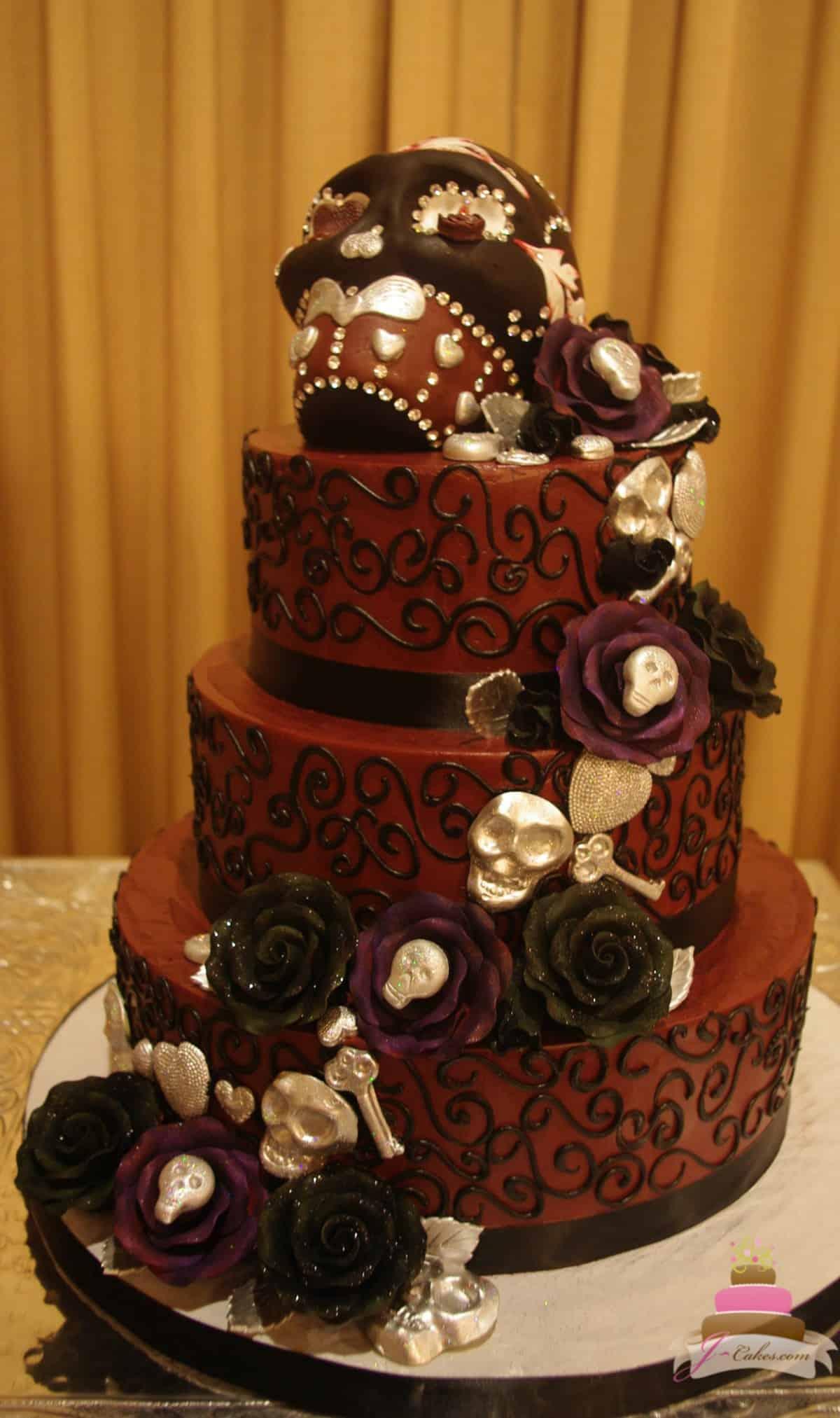 (1148) Sugar Skull Wedding Cake