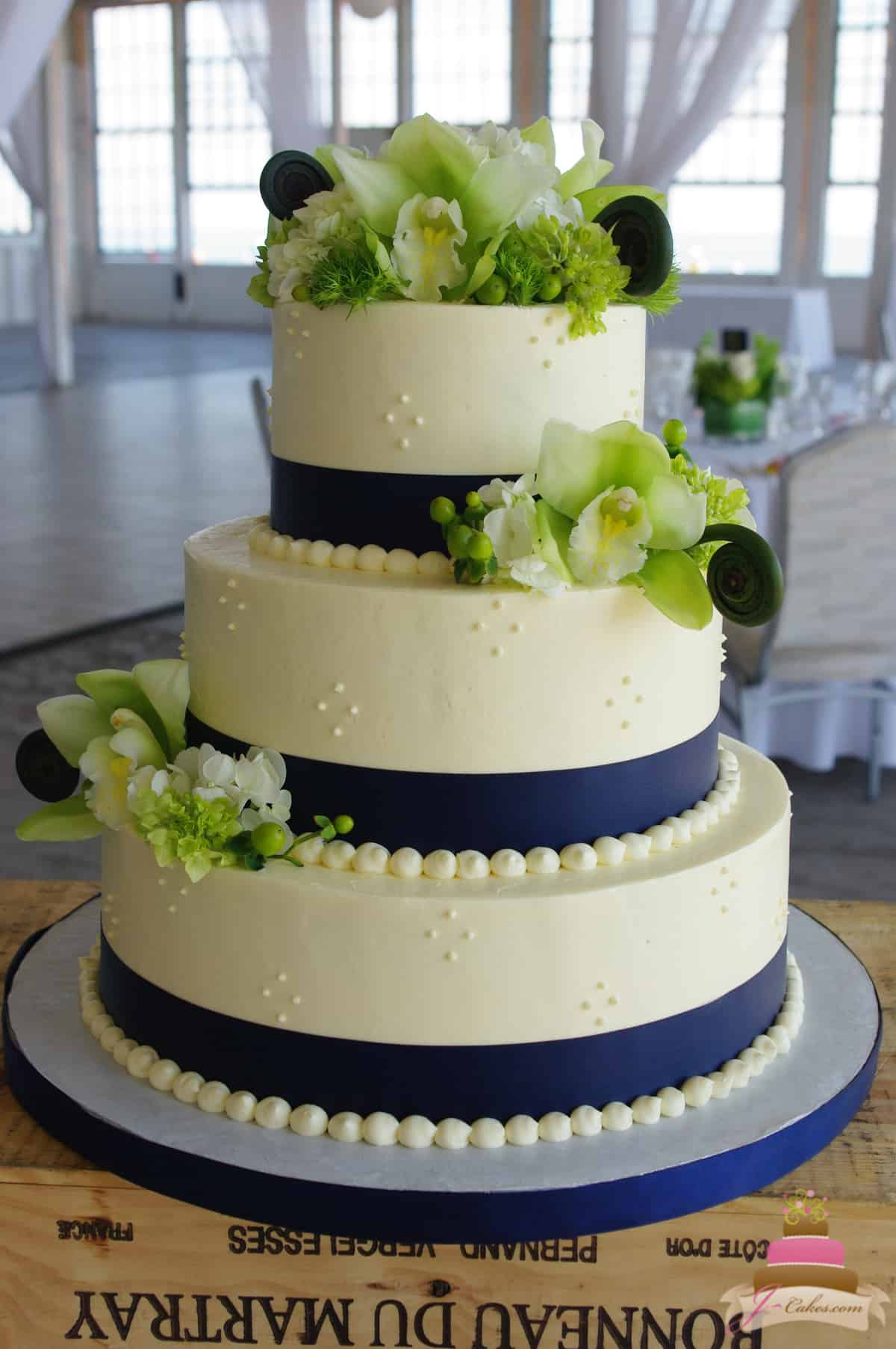 (1152) Swiss Dot and Orchid Wedding Cake