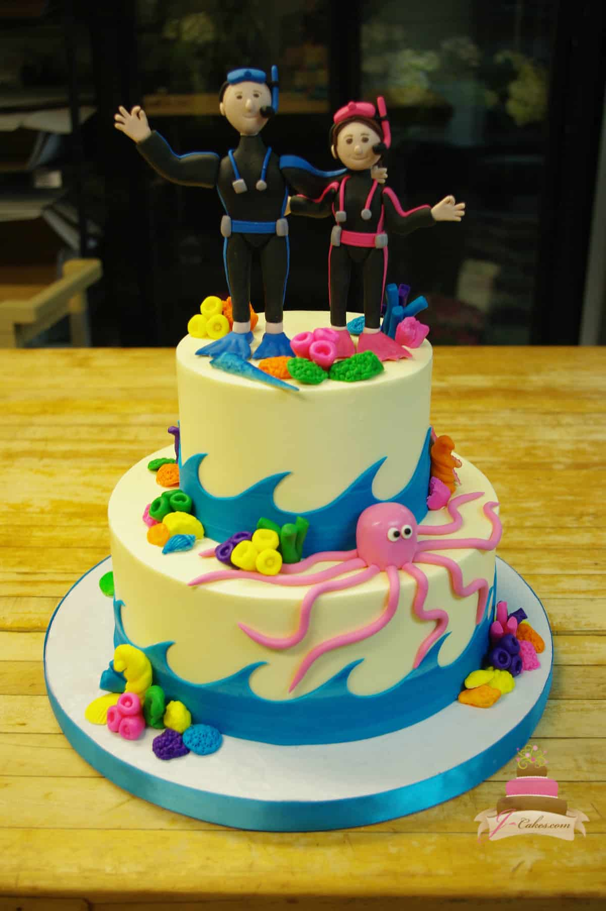 (1153) Scuba Theme Wedding Cake