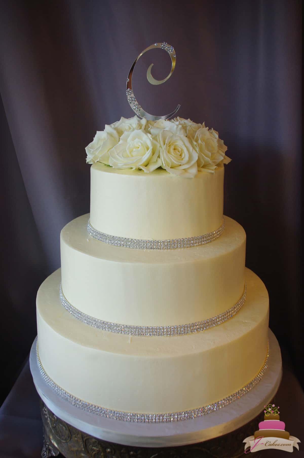 (1156) Smooth Buttercream and Rhinestone Wedding Cake
