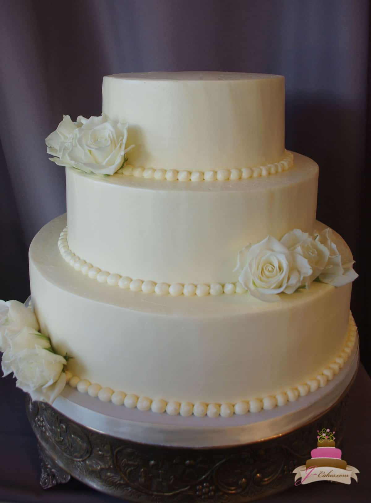 (1157) Simple Smooth Buttercream Wedding Cake