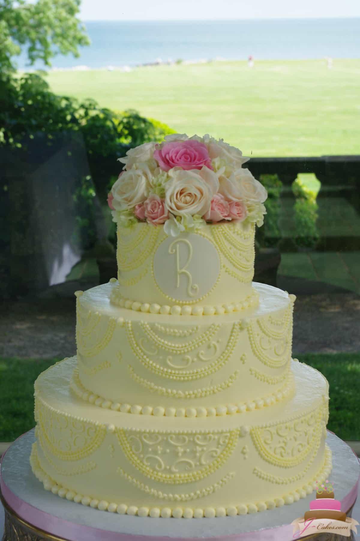 (1151) Custom Piped Wedding Cake