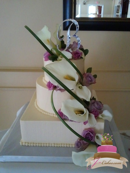 (1089) Calla Lily Cascade Wedding Cake