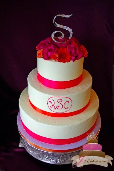 (1136) Bright Pink Monogram Wedding Cake