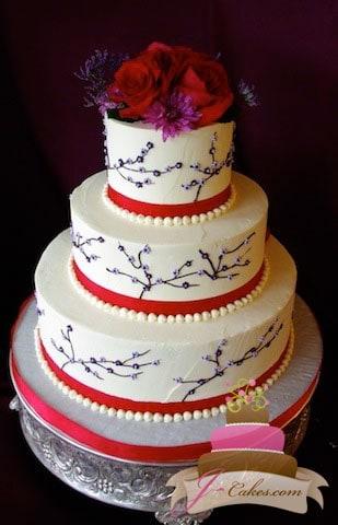 (1137) Floral Branch Wedding Cake