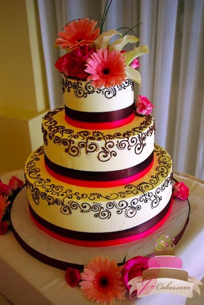 (1138) Chocolate Henna Scroll Wedding Cake