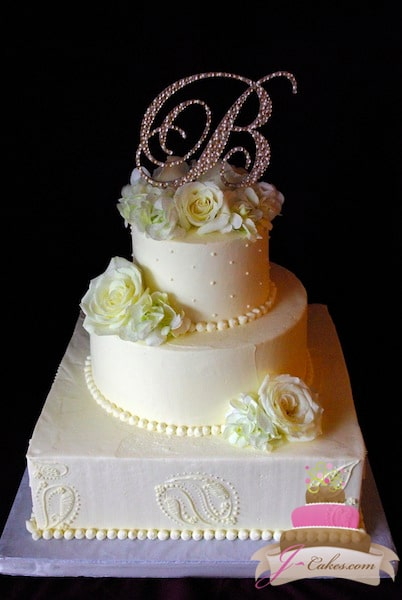 (1140) Custom Paisley Pattern Multi-Shape Wedding Cake