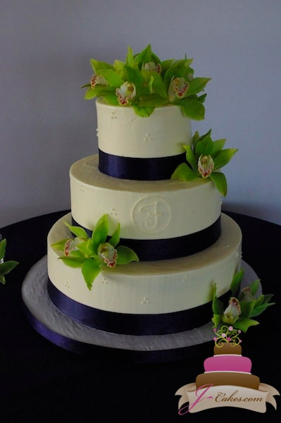 (1003) Dot and Monogram Wedding Cake